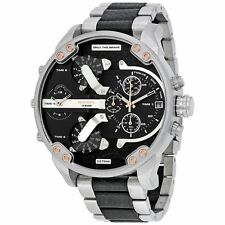 Diesel DZ7349 Mr Big Daddy 2.0 Silver Black Leather Quad Time Stainless 56MM NEW