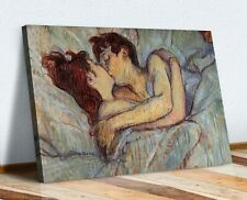 Henri Lautrec In bed the Kiss Love CANVAS WALL ART PRINT PAINTING FRAMED