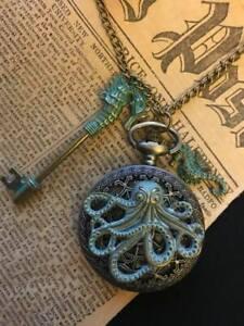 Bronze Verdigris Kraken Cthulhu Pocket Watch Steampunk Octopus Necklace Pendant