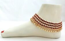 Indian Gold Plated Maroon Color Rhinestone Pearl Bridal Payal Anklet Jewelry
