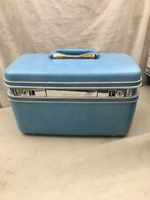 VIntage Samsonite Silhouette Blue Train Case Suitcase Luggage Make Up tray