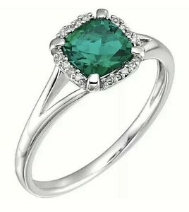 14K Solid White Gold Green Emerald & .05 CTW Genuine Diamond Ring Value $1995