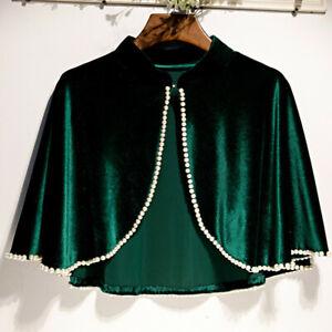 Women Cape Velvet Faux Pearl Jasper Sleeveless Cropped Shrug Shawl Cardigan Top