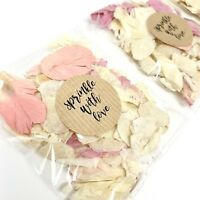 Pink, Lilac, Blue Ivory Dried Biodegradable Wedding Confetti Petal Bags Packets