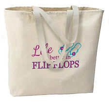 Life Is Better In Flip Flops New Large Canvas Tote Bag Summer Beach Travel