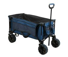 DMH Heavy Duty XL Deluxe Folding Wagon Trolley Beach Cart 4 Wheel