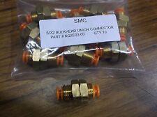 "QTY 10 SMC KQ2E03-00 one touch Bulkhead Union push connector 5/32"" X 5/32"" OD"