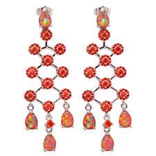 Women Jewelry Gems Stud Earrings Oh3954 Orange Fire Opal Orange Garnet Silver