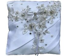 White Wedding Ring Cushion Bearer Engagement Pillow Antique Silver Beaded Lace