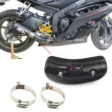 Real Carbon Fiber Bent Motorcycle Exhaust Pipe Protector Heat Shield Cover Guard