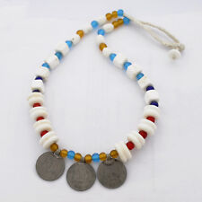 "Glass Beads Conch Shell Coin Necklace 22"" Tibetan Nepalese Handmade UN1885"