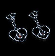 .925 Sterling Silver Natural Carnelian Heart Dangle Post Earrings