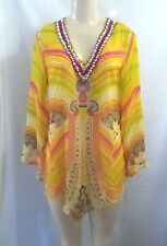 BEACH WEAR YELLOW PINK GREEN BEADED NECK COVER UP TOP BLOUSE SHEER S