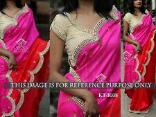 BEAUTIFUL BOLLYWOOD  DESIGNER PARTY WEAR RED & PINK COLOR PEARL WORK SAREE