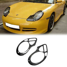 Front Headlight Eyebrow Eyelid Trim For Porsche 996 911 Boxster 986 Carbon Fiber