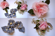 Vintage 40's 50's Millinery Corsage Lot Flowers Pink Roses, Velvet Silk, Lily