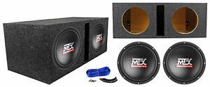 """2) MTX Terminator TN10-04 10"""" 600w Car Audio Subwoofers+Vented Sub Box Enclosure"""