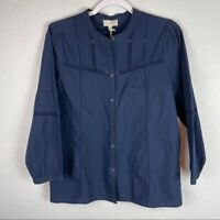 Lucky Brand Long Sleeve Collarless Button Down Top Navy Blue Women's Size S NWT