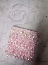 Cache Beaded Jewels Pink Rose Evening Flapper Clutch Shoulder Bag Purse