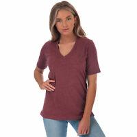 Womens Henri Lloyd Jayne Short Sleeve Marl V-Neck T-Shirt In Burgundy