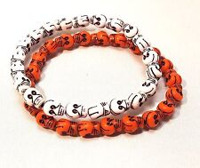 Halloween Bracelets Skulls Orange and White Stretch One Size Fits Most Set of 2