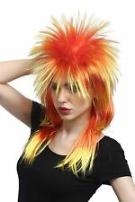 Wig Carnival Punk 80ies Wave Backcombs Long Multicolour Red Yellow
