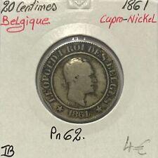 BELGIQUE - 20 CENTIMES 1861 - Pièce de Monnaie en Cupro-Nickel // TB