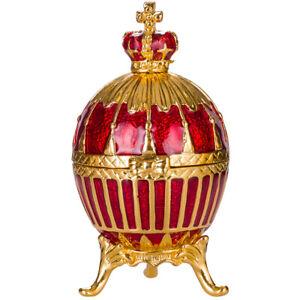 Russische Fabergé Ei / Schmuckkästchen mit russischen Kaiserkrone 6,5 cm rot