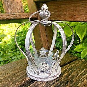 Grey Brown Rustic Crown Tea Light Holder Vintage Style Candle Holder Ornament