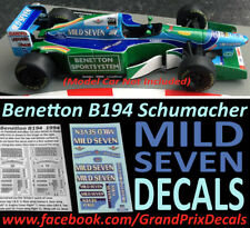 Formula 1 car collection Benetton B194 MILD SEVEN water slide DECALS 1:43 IXO