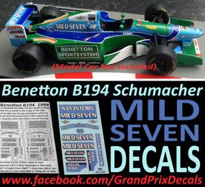 Formula 1 car collection Benetton B194 MILD SEVEN water slide DECALS 1:43 IXO