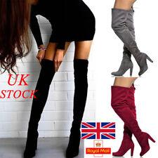 UK New Womens Suede High Heel Thigh Over The Knee Ladies Tie & Zip Boot Size 2-7