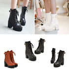 Women Platform Chunky High Heels Lace Up Punk Gothic Round Toe Ankle Boots Shoes