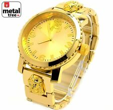 Men's Hip Hop 14k Gold Plated Luxury Metal Band Techno Pave Watches 6937 G JF