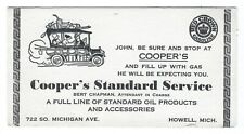 1930s Cooper's Standard Service, Howell, Michigan, ink blotter ad, Red Crown Gas