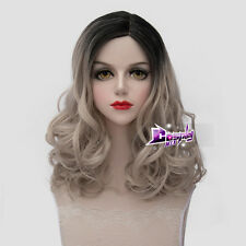 45CM Black Mixed Light Flaxen Long Curly Hair Lolita Anime Cosplay Wig + Wig Cap