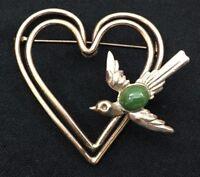 Large Vintage Brooch Hearts Bird Green Stone Goldtone Fashion Accessory 5155F