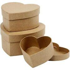3 Pappschachteln HERZ, Herzschachteln in 3 verschiedene Größen mit Deckel