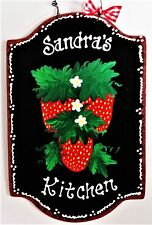 Black Sign STRAWBERRY Personalized NAME SIGN Kitchen Plaque Wall Hanger Decor
