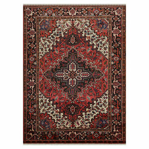 """6'5"""" x 8'5"""" Hand Knotted 100% Wool Authentic Herizz Area Rug Traditional Rust"""