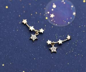 Ohrstecker 925 Silber gold/rosevergoldet/silber Strass Sterne Anhänger 16*9mm