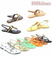 Women's Cute Thong T-Strap Slingback Flat Round Metallic Sandals Shoes Size 6-11