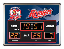 Sydney Roosters NRL SCOREBOARD LED Glass Clock Date Time Temp Man Cave Bar 088GK