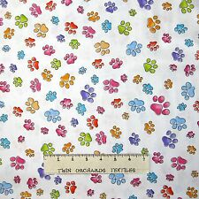 Loralie Designs Fabric - Pawful White Rainbow Tossed Paw Prints - LAST 1.61 Yard