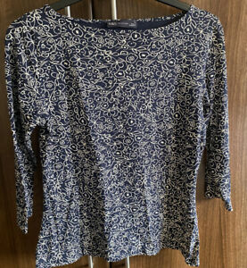 M & S Collection MARKS & SPENCER Black White Stretch top size 12