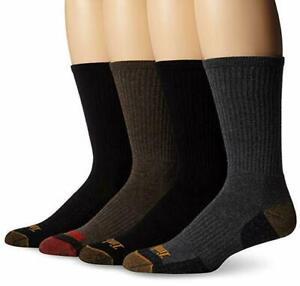 Timberland Comfort 4-Pack Cushioned Crew Socks LARGE Black/Black/Brown NWT