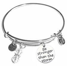 Be Stronger than the storm, Message Charm Expandable Bangle Bracelet!