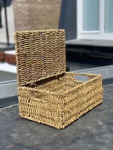 Seagrass Hamper Basket / Storage Chest Basket / Luxury Gift Basket with Lid