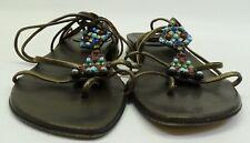 Stuart Weitzman Copper Brown Leather Jewel Ankle Tie Strappy Flat Sandal Sz 6.5M