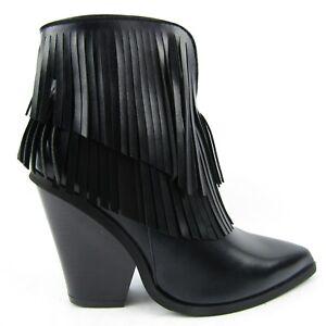 stivaletti donna punta frange ecopelle tacco 10 cm scarpe
